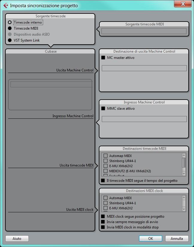 impostazioni sincronizzazione progetto cubase